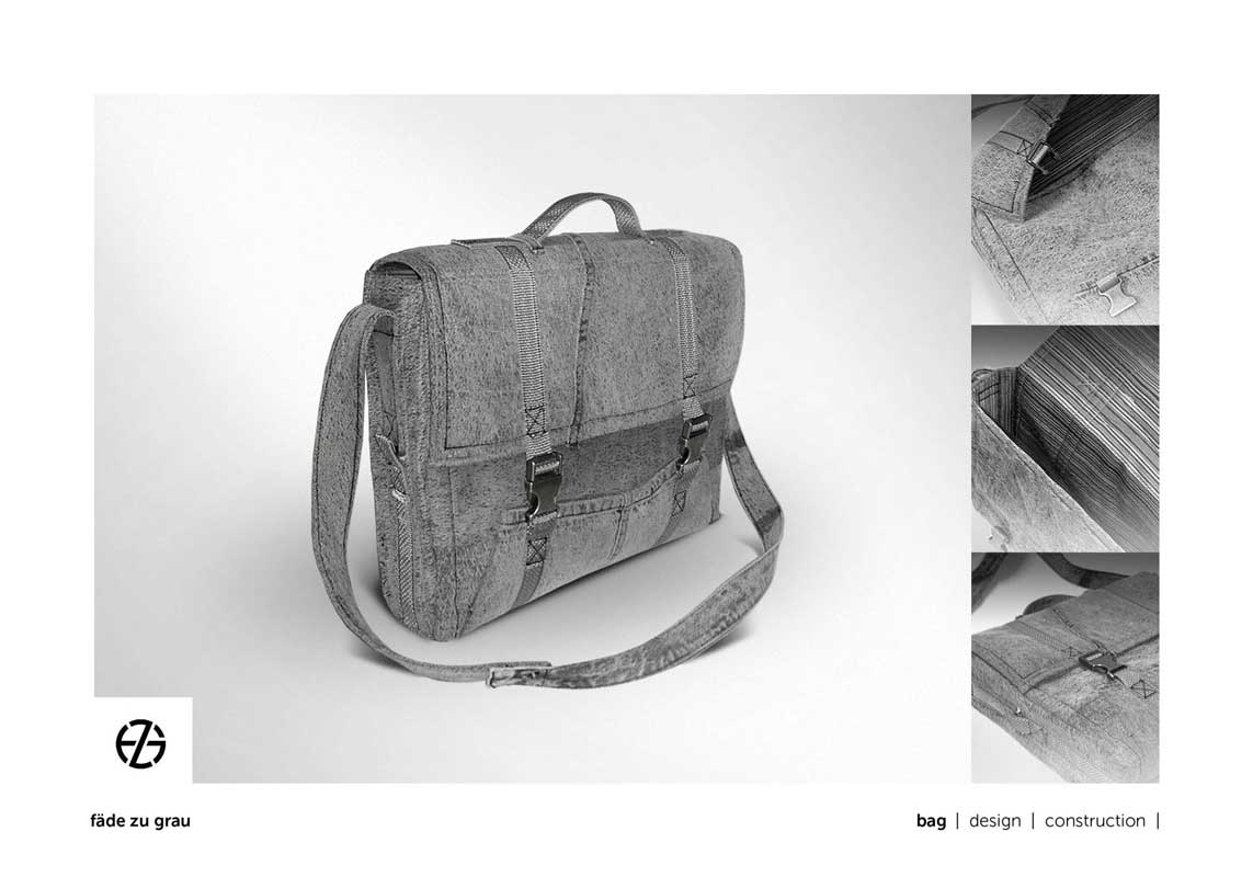 gray bag with handle and metal closures on front