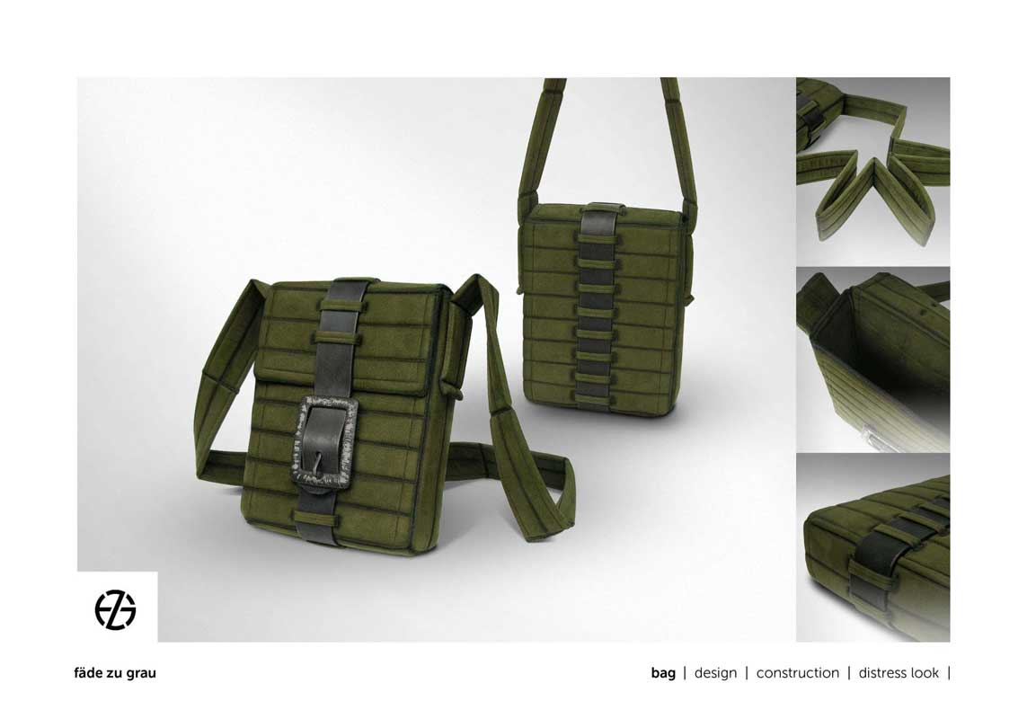 green bag with belt loops, a black belt and long handle