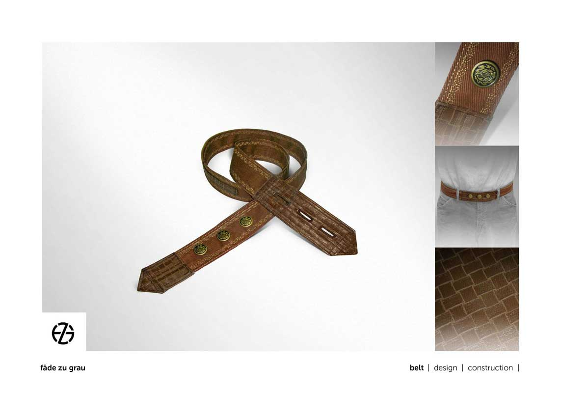 fake brown leather belt with buttons