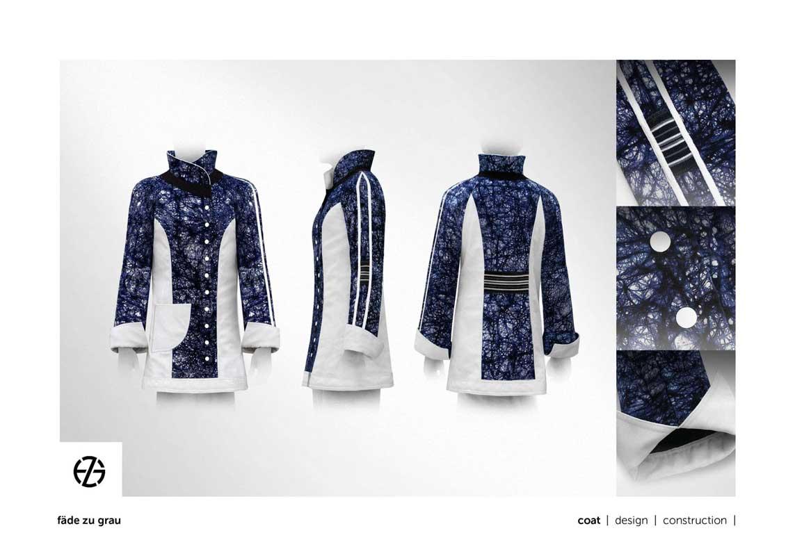 female fashion model presents a blue and white coat