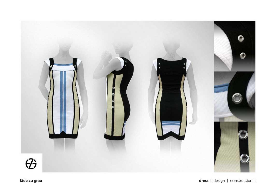 female fashion model presents a tight sleeveless dress