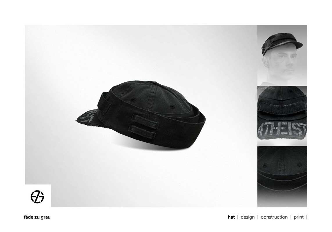 """black hat with the word """"atheist"""" written on the front visor"""