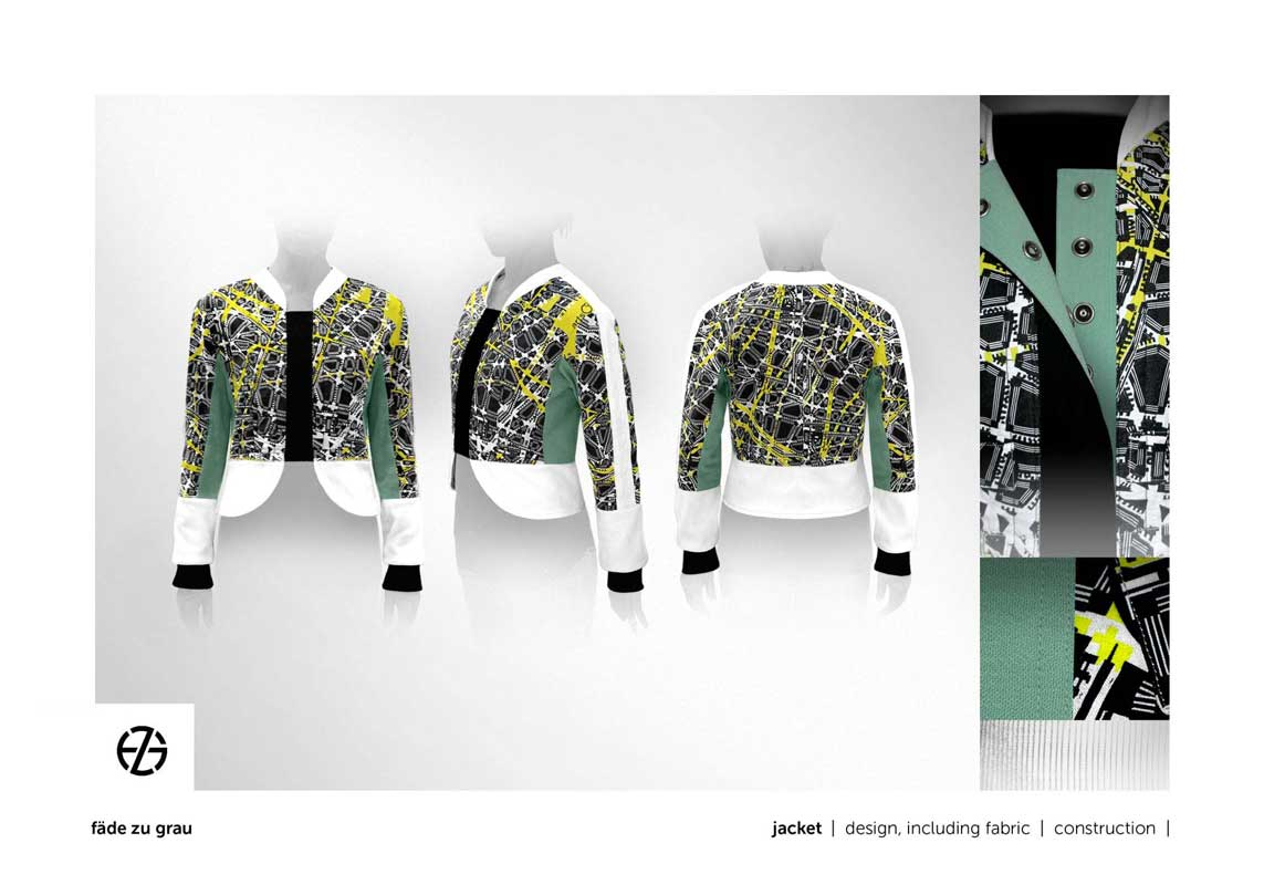 female model presents a jacket made from street map looking fabric