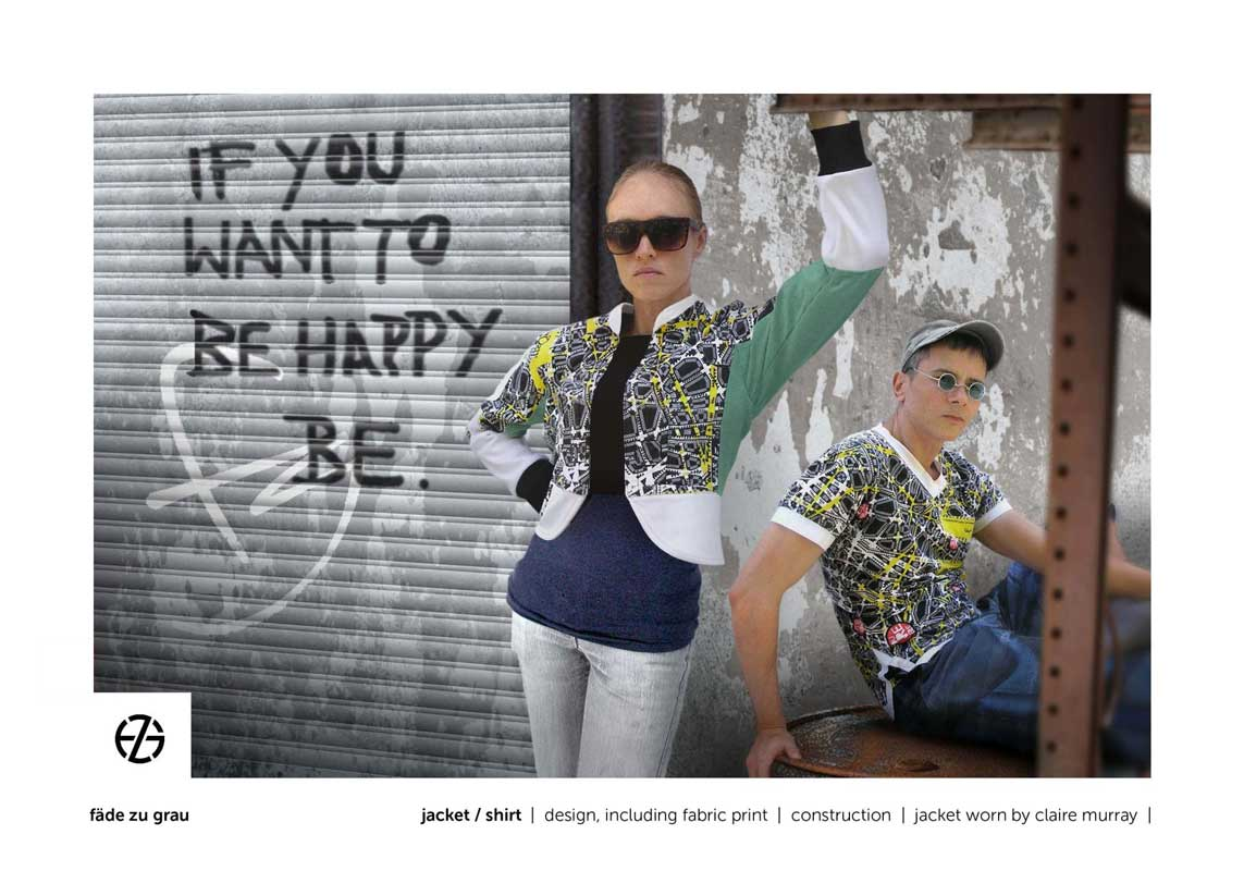 female model and artist fade zu grau present a jacket and t-shirt