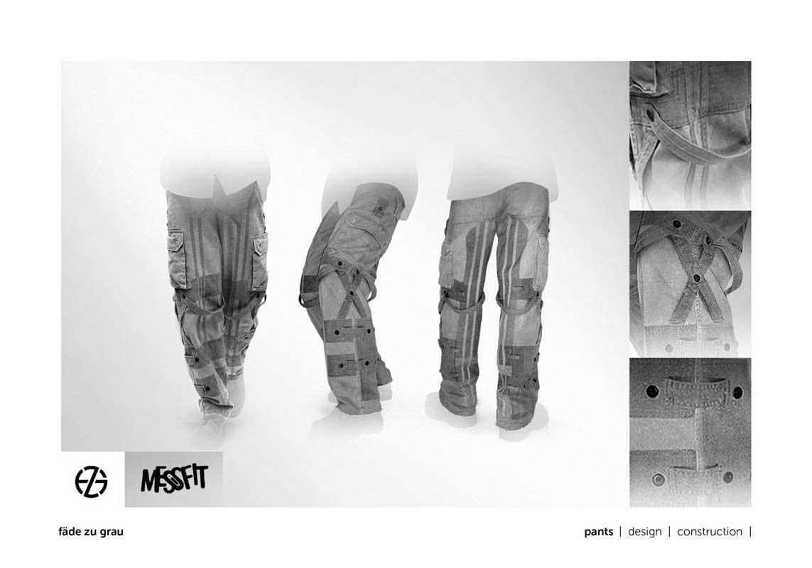 fashion model presents light gray pants with dark gray applications