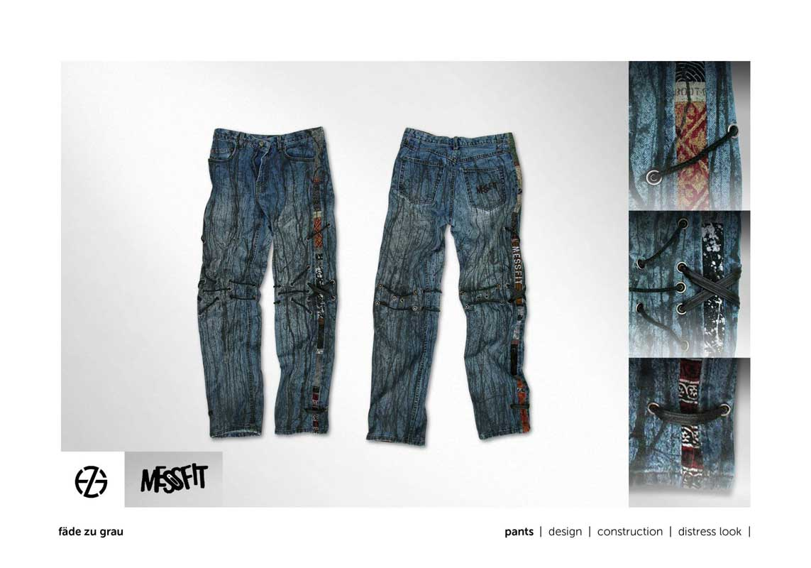 blue jeans handpainted with strings attached laying flat, front and back view