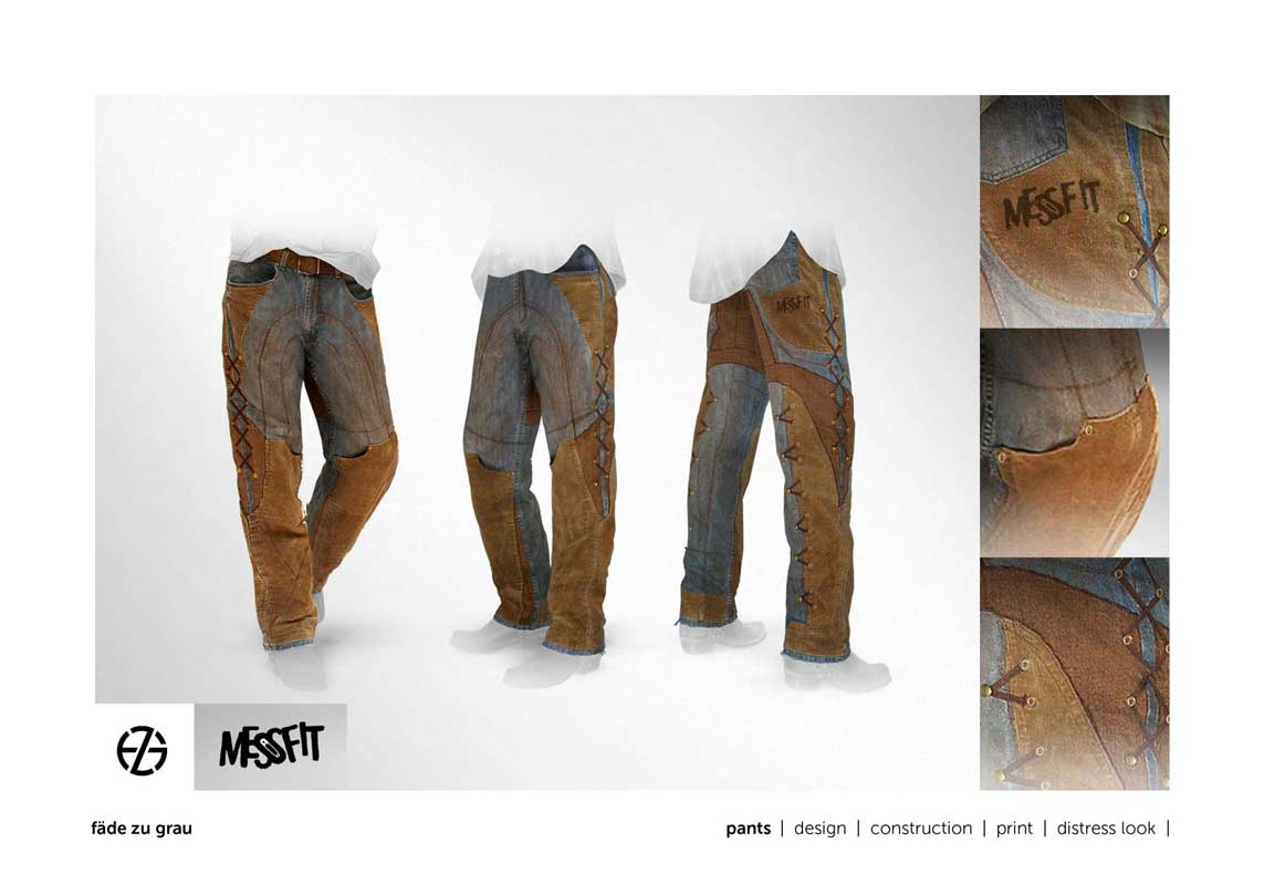 fashion model presents blue jeans with brown fabric applications and grommets