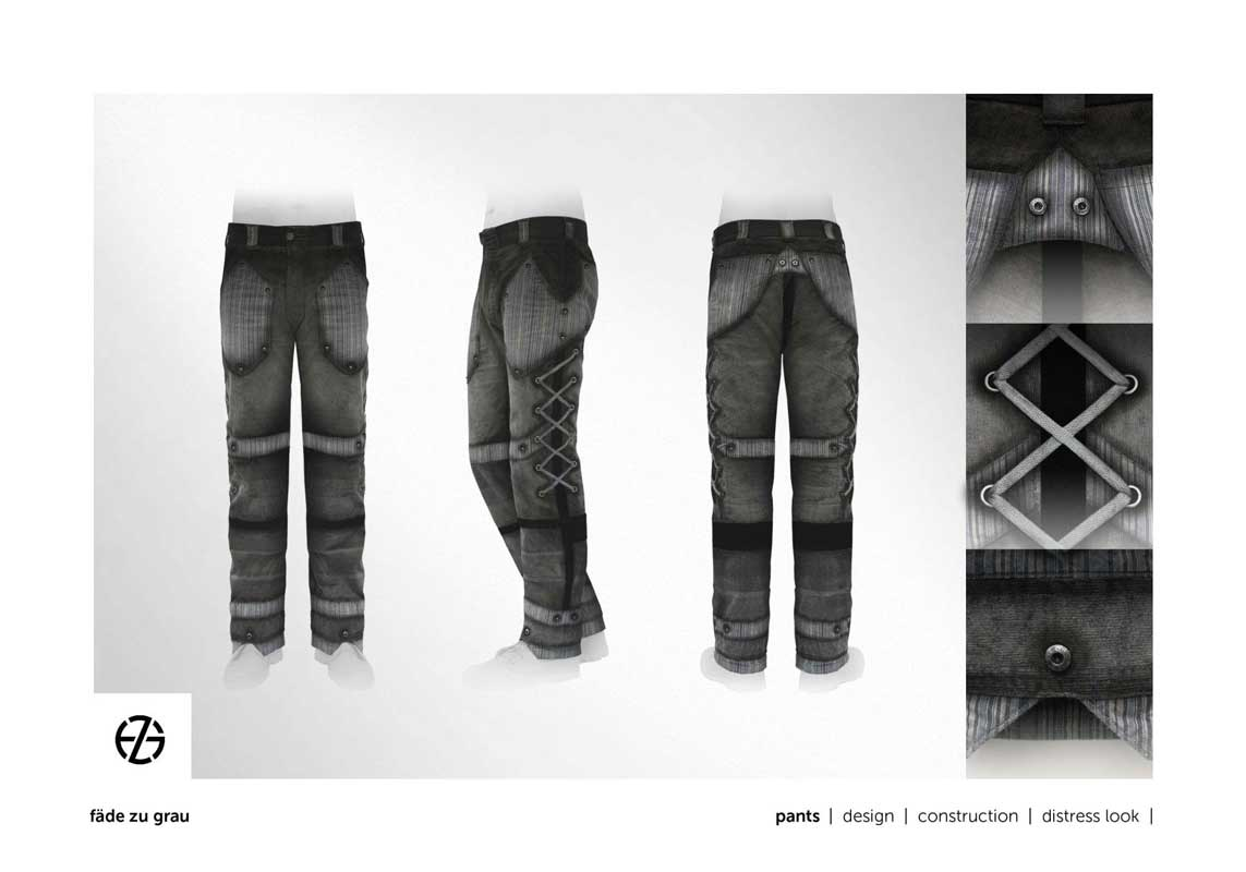fashion model presents gray and black pants with lot of details