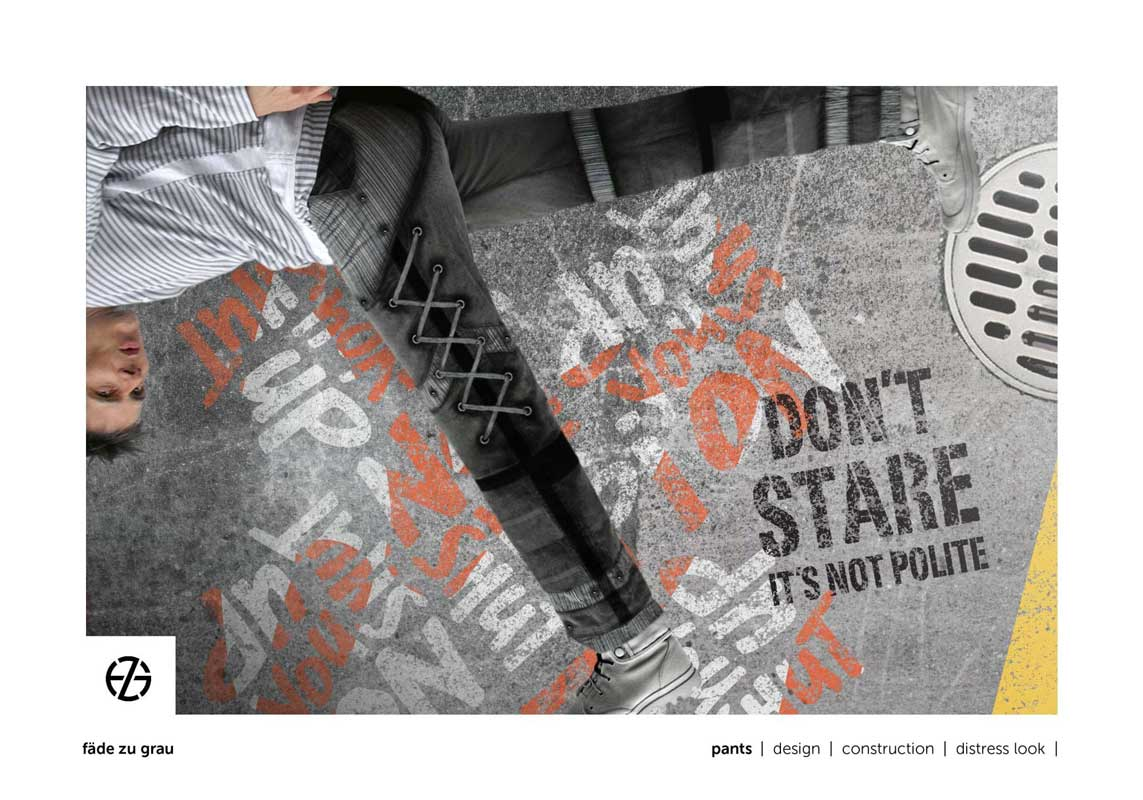 artist fade zu grau presents gray pants in front of a graphic design background