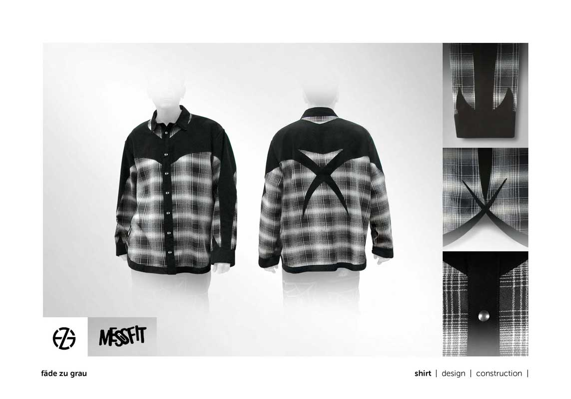 fashion model presents black and white log-sleeve shirt with X on the back