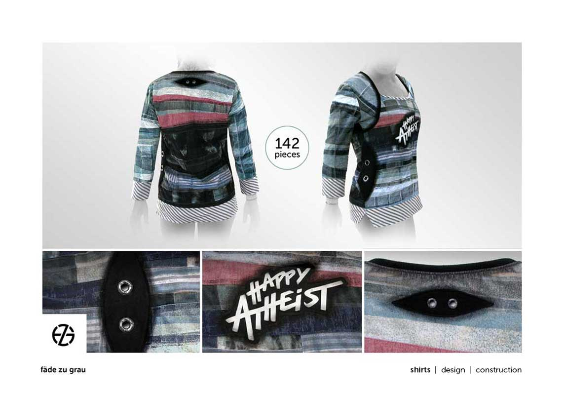 """female fashion model presents long-sleeve top with saying """"happy atheist"""""""