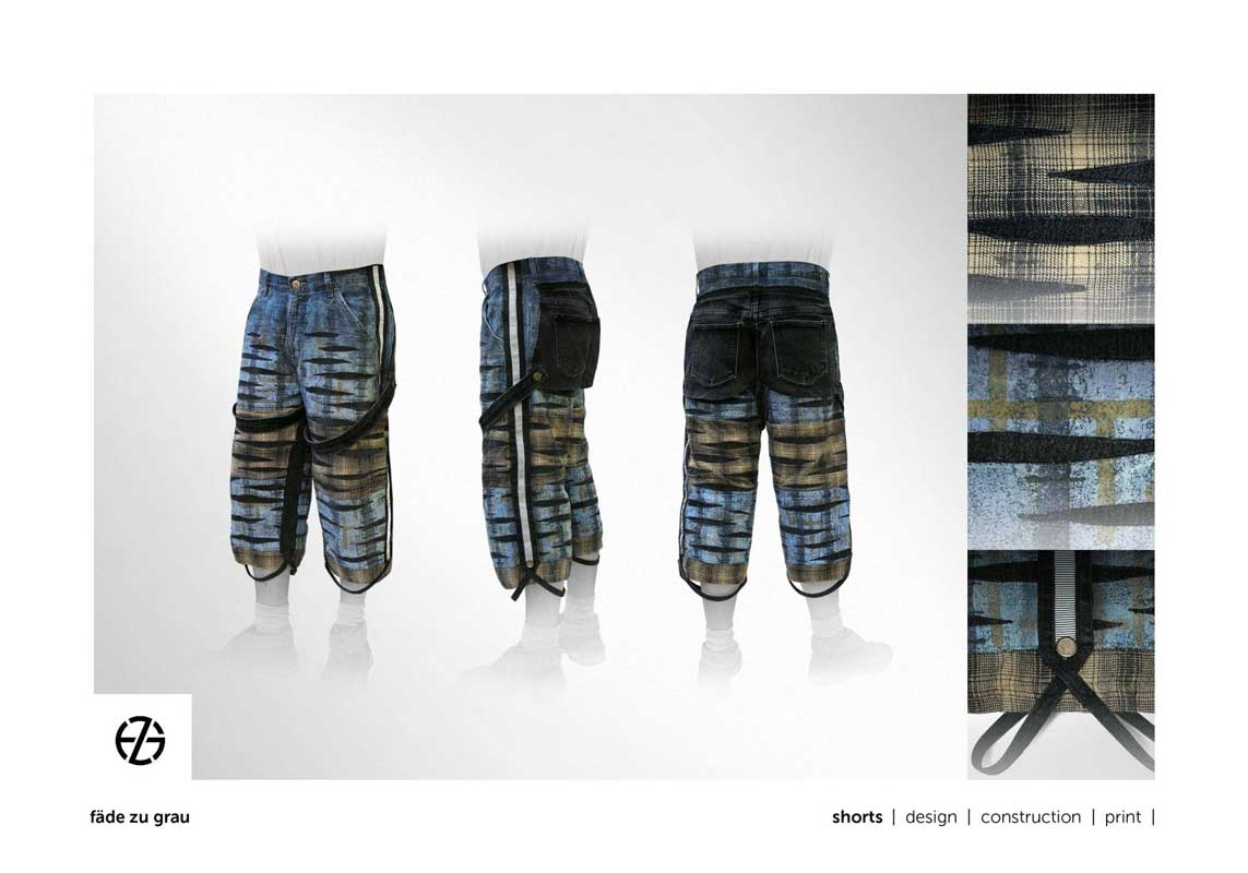 fashion model presents blue jeans shorts