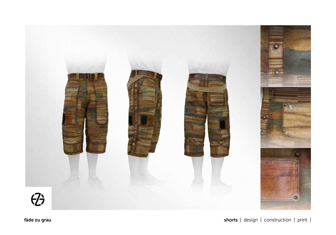 fashion model presents brown shorts