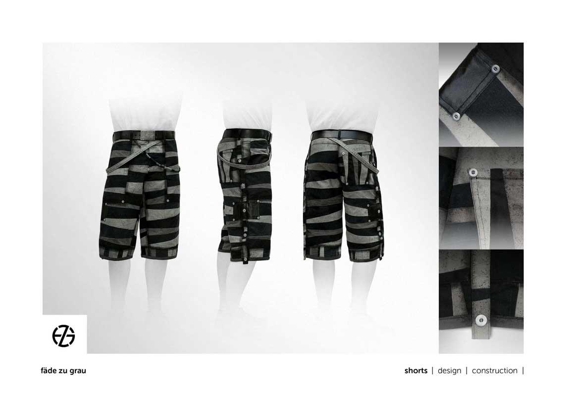 fashion model presents black and gray shorts