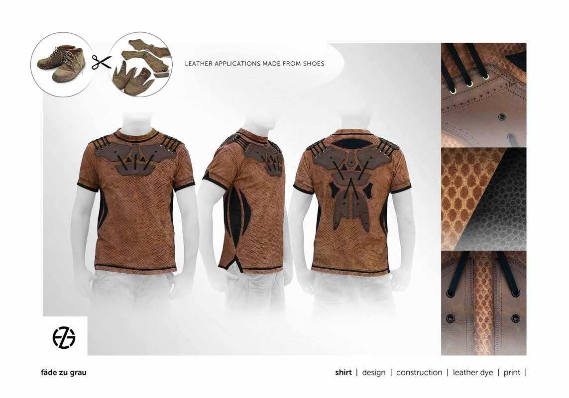 fashion model presents t-shirt with leather applications