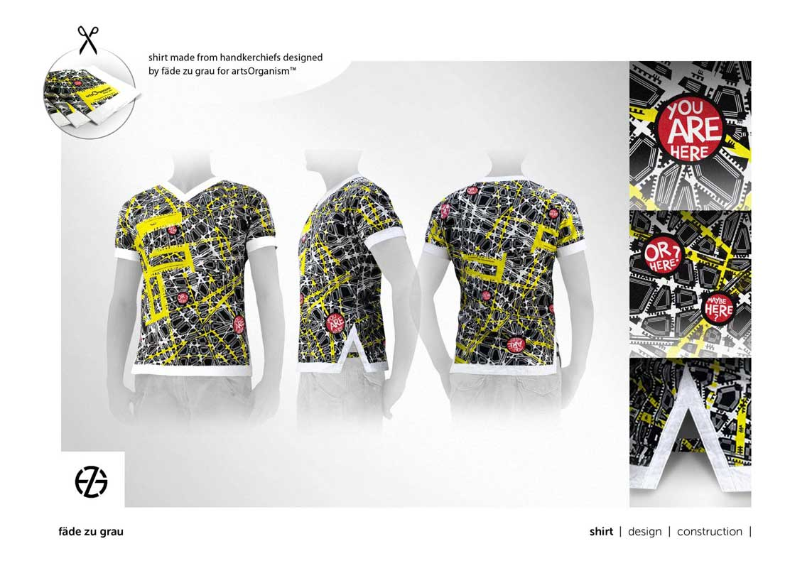 fashion model presents t-shirt with fictitious street map fabric