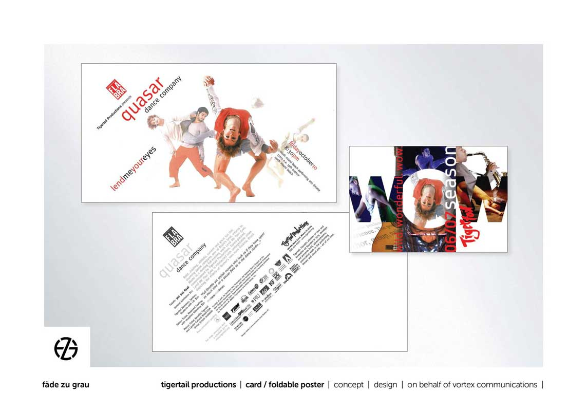 graphic design card and folded poster for quasar dance company