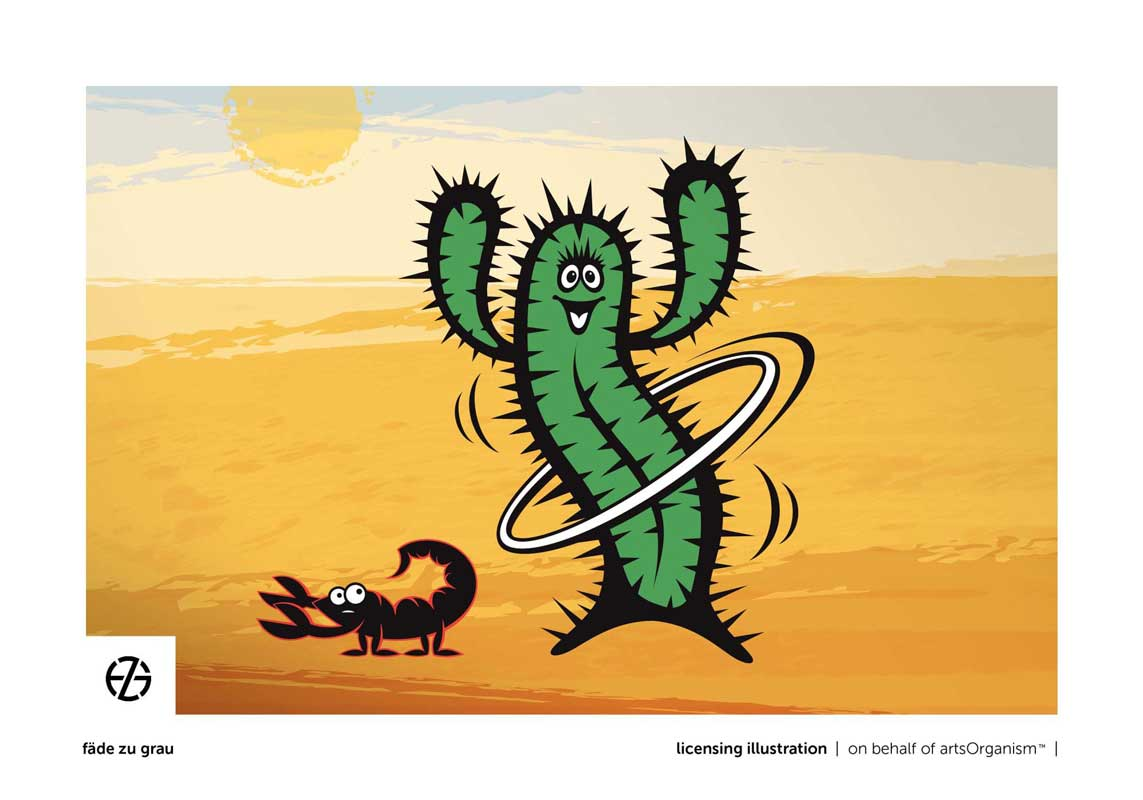 graphic design drawing of a cactus and scorpion in the desert