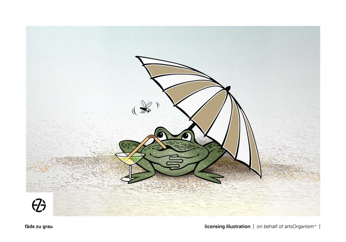 graphic design drawing of cartoon-like frog with umbrella