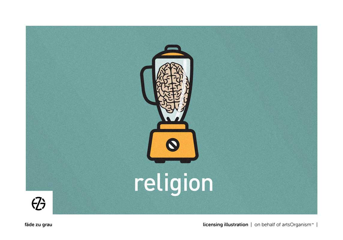 "graphic design drawing of a brain in a mixer with the word ""religion"" below it"