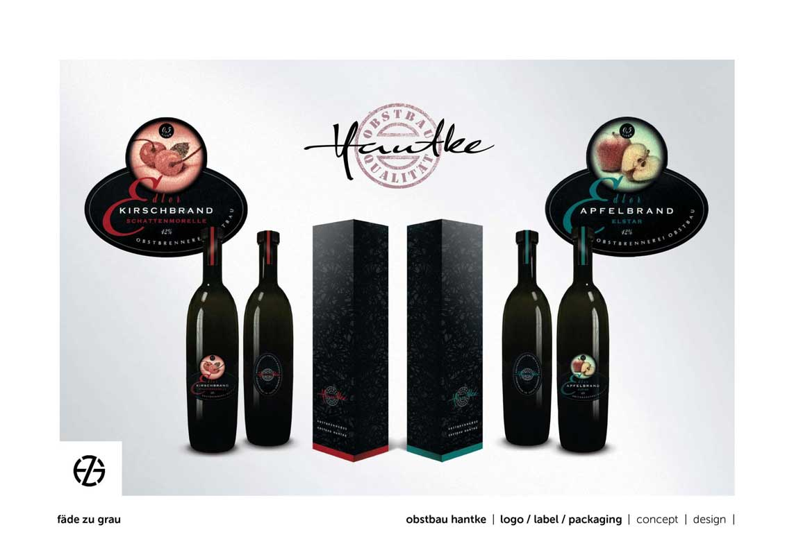 graphic design for hantke brandy bottle package