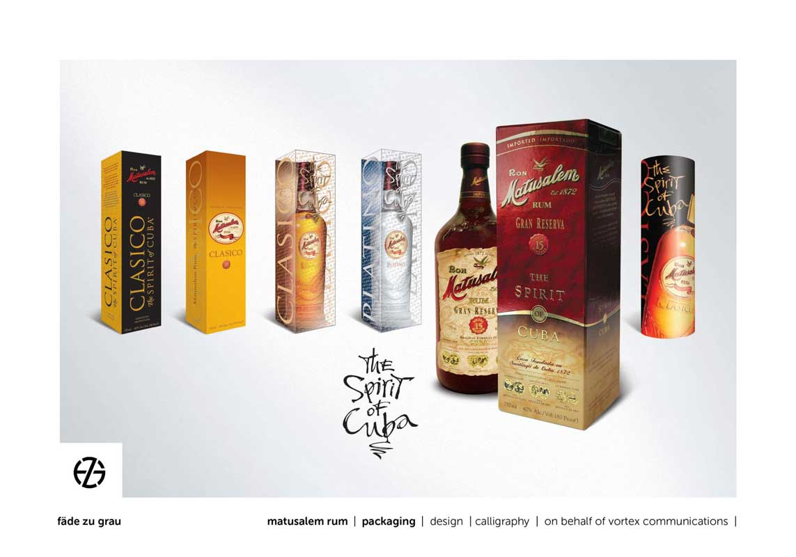 graphic design for matusalem rum bottle packaging