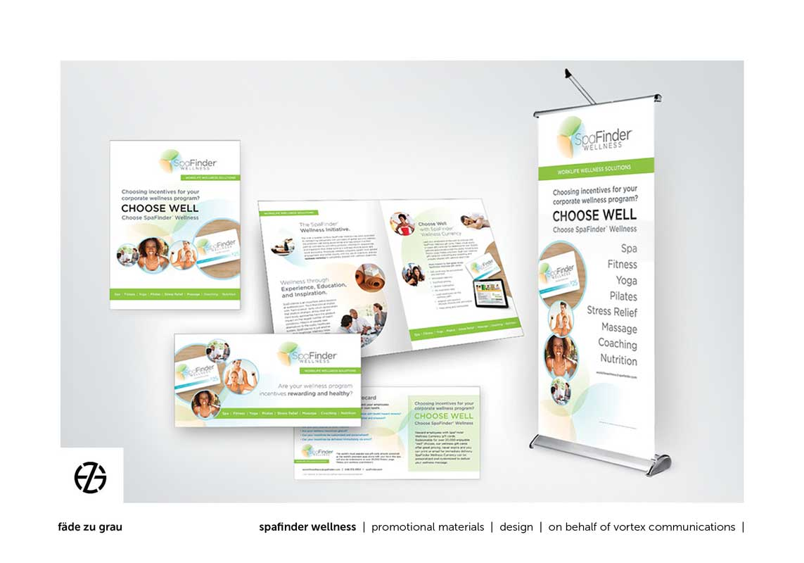 graphic design brochure, card and standing poster for spafinder