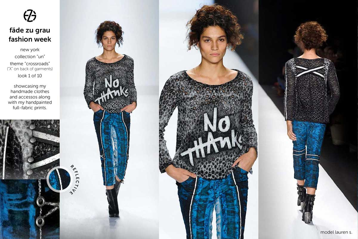 fade zu grau runway collection at new york fashion week, look 1