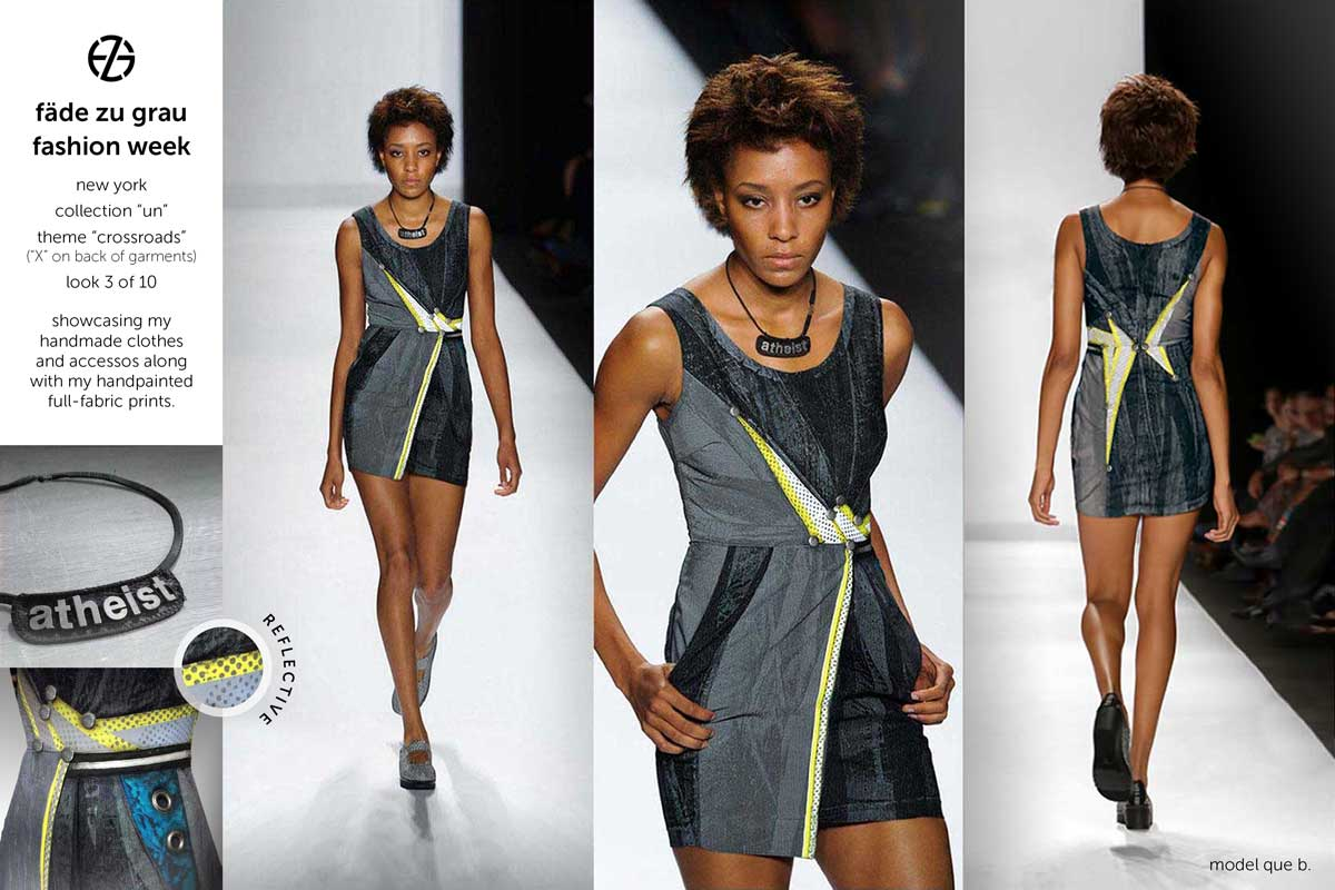 fade zu grau runway collection at new york fashion week, look 3