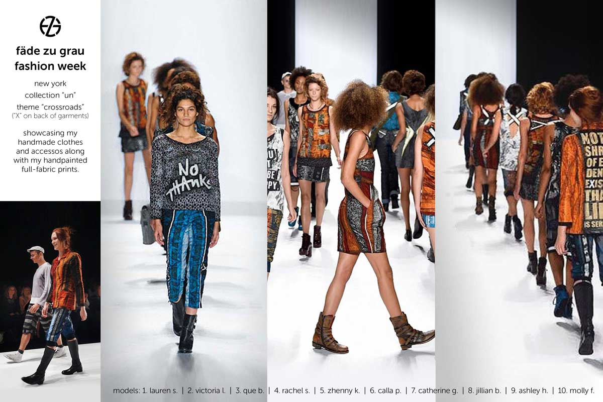 artist fade zu grau walks the runway with his models at new york fashion week