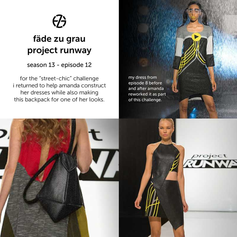 fade zu grau's handmade backpack and his dress that amanda valentine reworked